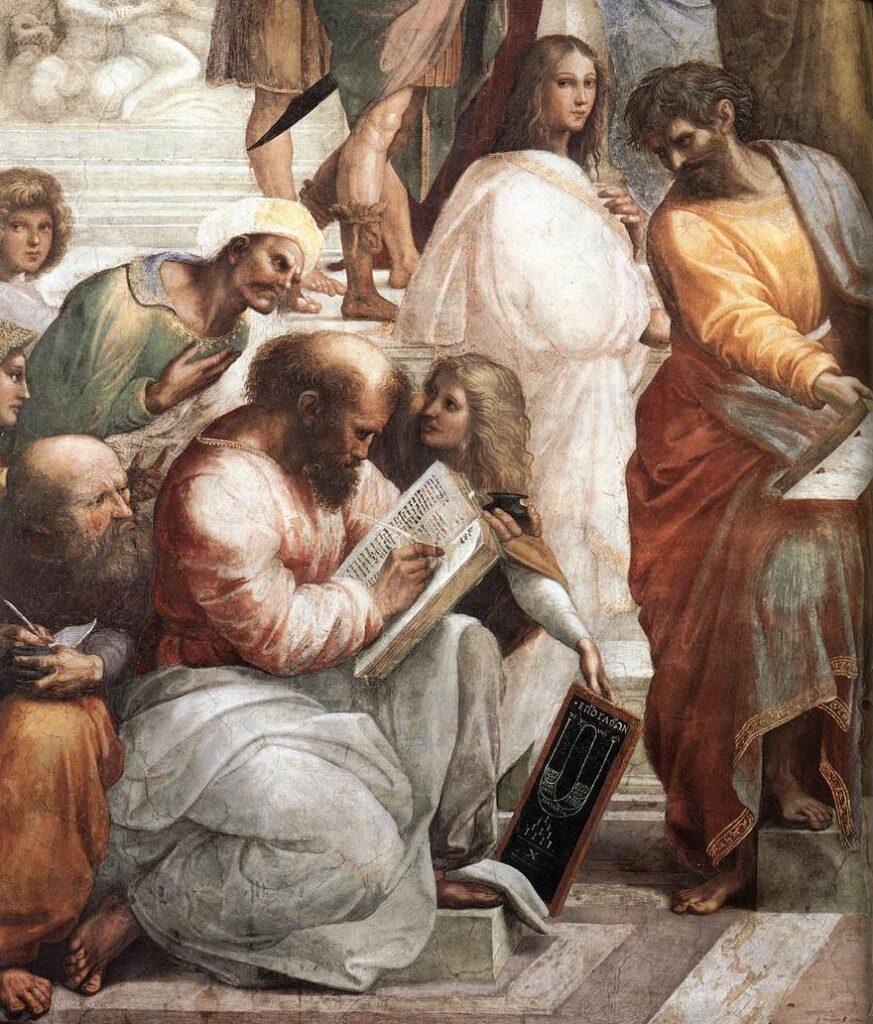 Pythagoras: ... The School of Athens by Raffaello Sanzio, 1509, showing Pythagoras
